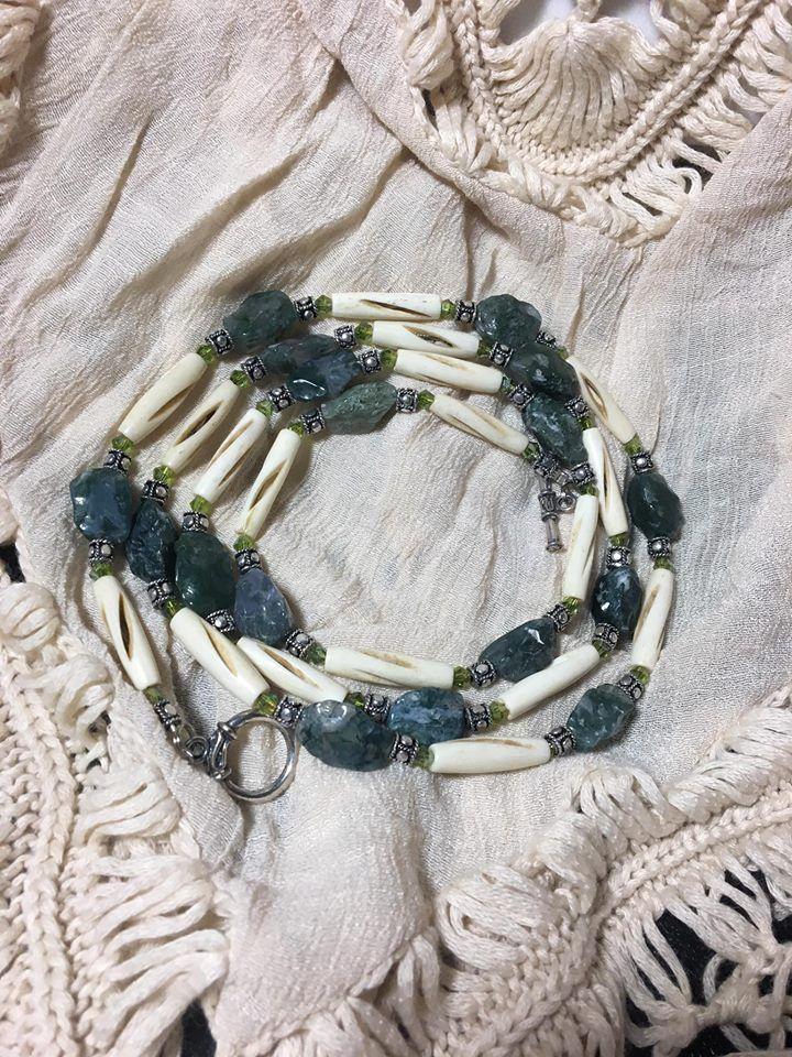 Handmade Native American Inspired Genuine Moss Agate Carved Bovine Bone Necklace #Handmade #Beaded