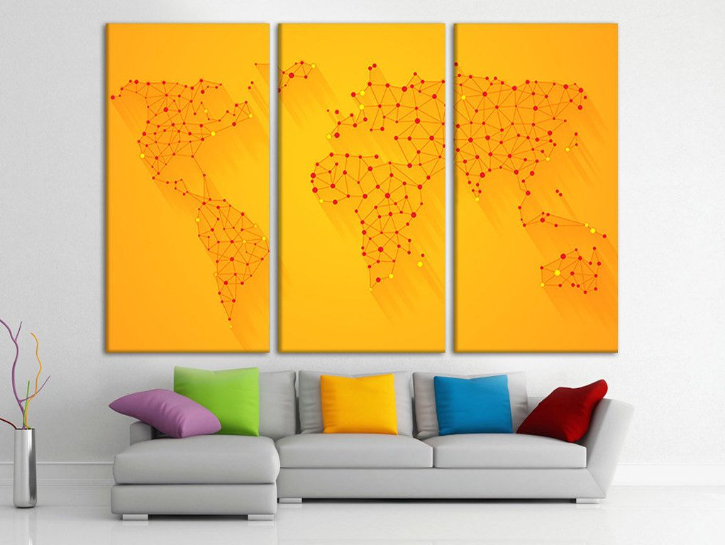 Abstract world map canvas Pin board map World map frame Map of the ...