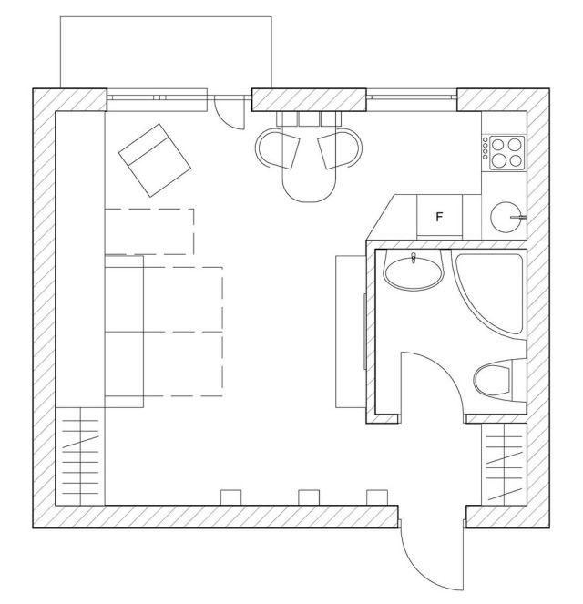 einzimmerwohnung plan-gestaltung kleine wohnung-mit mini-küche, Innedesign
