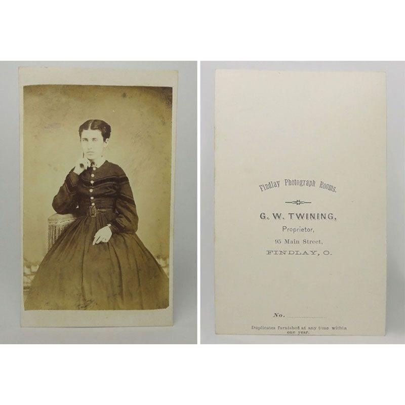 Antique Civil War Era 1860s CDV Carte De Visite Woman in a Long Dark Dress