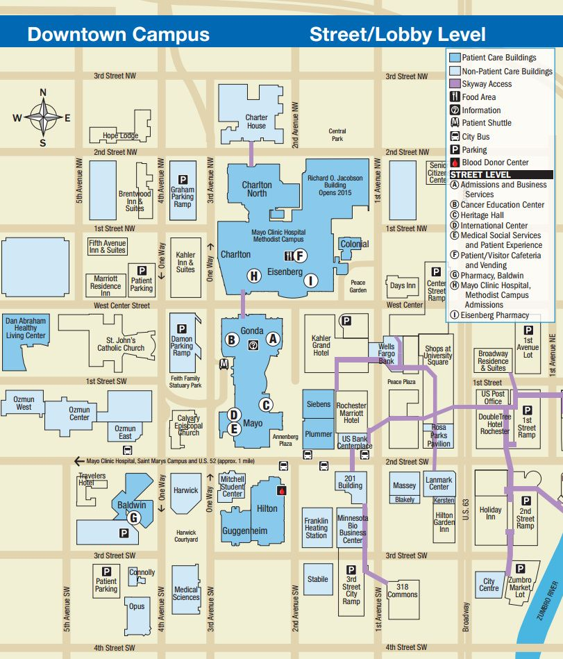Mayo Clinic Downtown Rochester, MN Campus Map - Street/Lobby Level ...