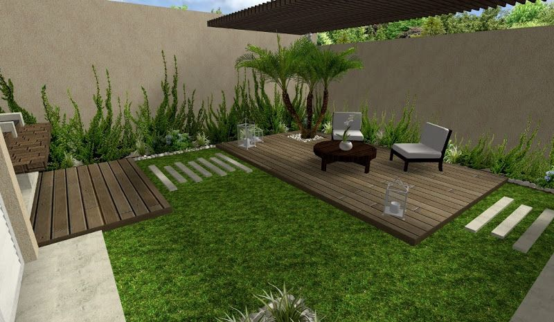 Dise o de jardin hermoso con deck y pergola y plantas for Decorar patio economico
