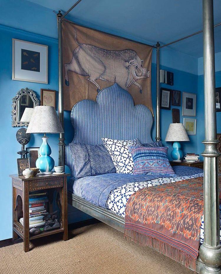 Weiss, Einrichten Und Wohnen, Blau, Wohnung In Manhattan, Bohème,  Hauptschlafzimmer, Bright, Schlafzimmer Ideen, Schick
