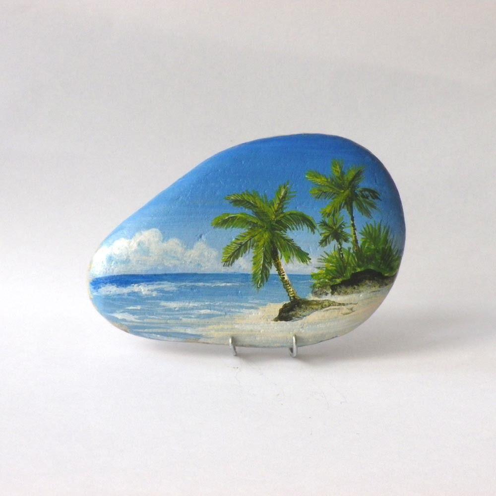 peinture sur galet une plage des seychelles pebbles and stones landscape pinterest rock. Black Bedroom Furniture Sets. Home Design Ideas