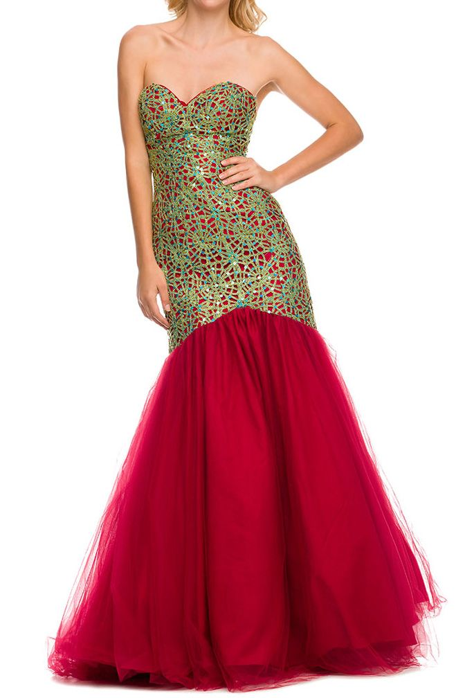 Strapless intricate laced detail sweetheart ombre styled mermaid gown. Features Strapless Back Zip Closure Lace Bustier Mermaid style skirting Tulle (multiple layer) Color Nude Black Red   #promgowns #formalwear #shopdivasegoboutique  www.divasego.com