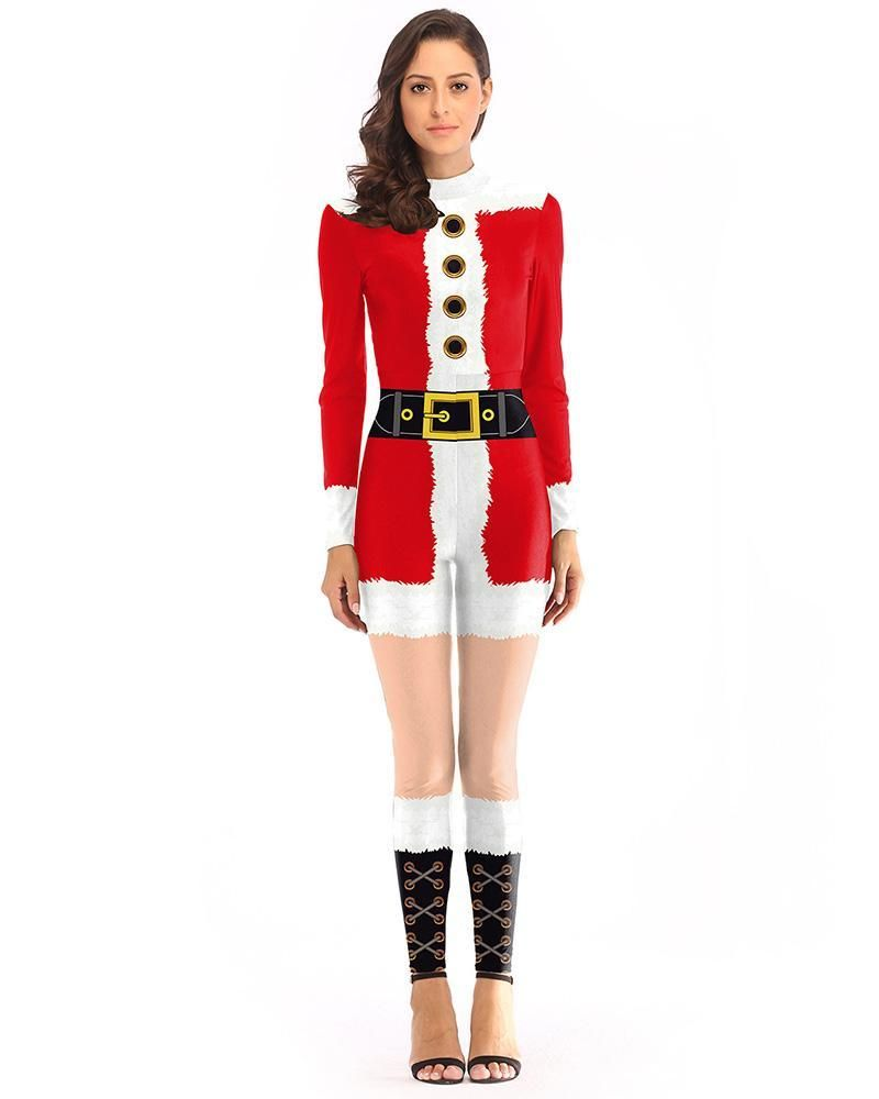 96f20804e4e460 Christmas Mrs Santa Claus Catsuit Womens Cosplay Jumpsuit Costume – pinkfad