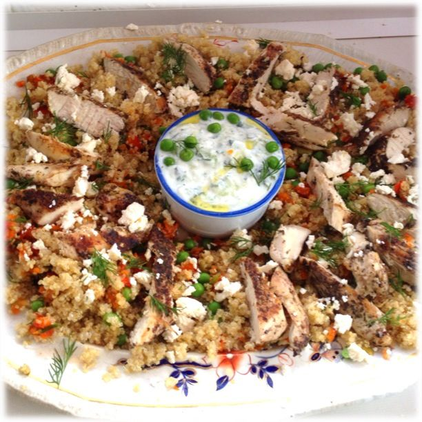 Gorgeous Greek Chicken (with gluten free quinoa instead of couscous)