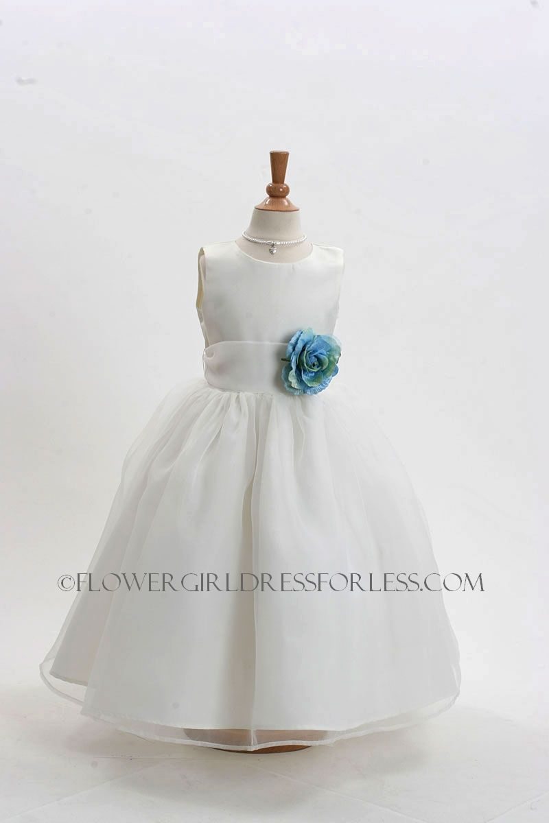 Flower Girl Dress Style 2021 Ivory Or White Dress With 3 Bluegreen