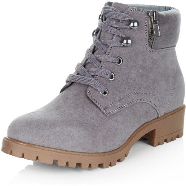 New Look Teens Grey Lace Up Ankle Boots