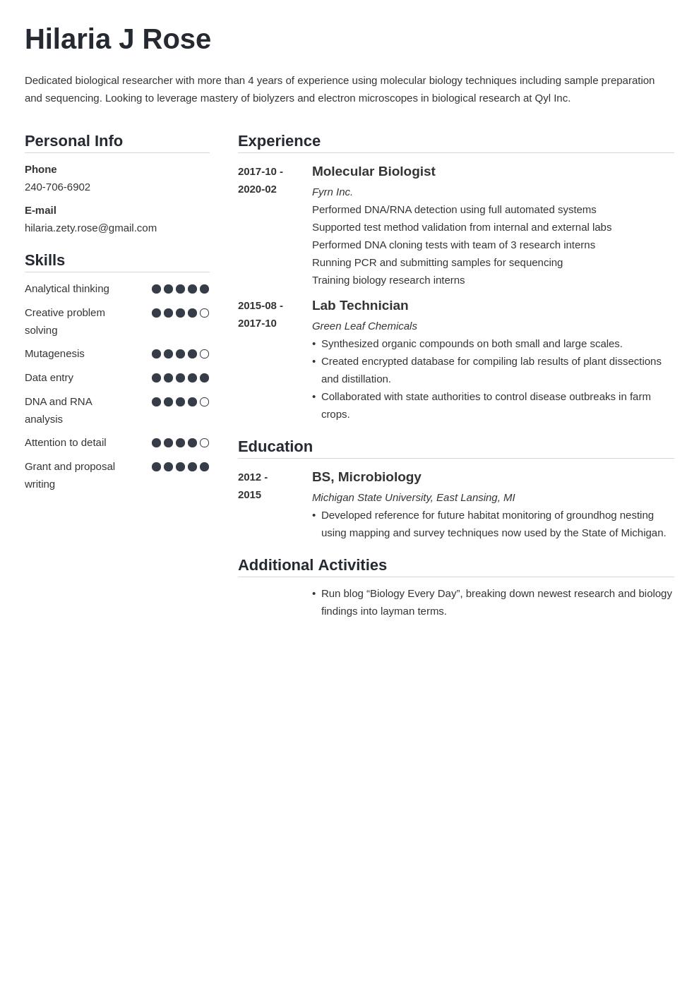 Biology Resume Example Template Simple Resume Examples Job Resume Examples Education Resume