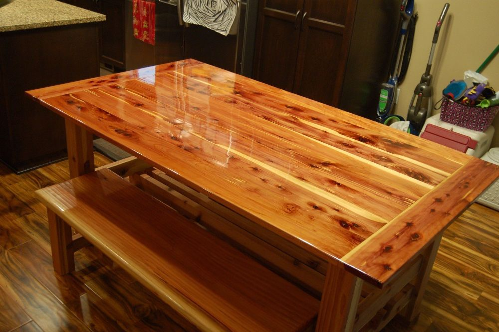 Dining Table Made From Tennessee Red Cedar And 2x6 Redwood
