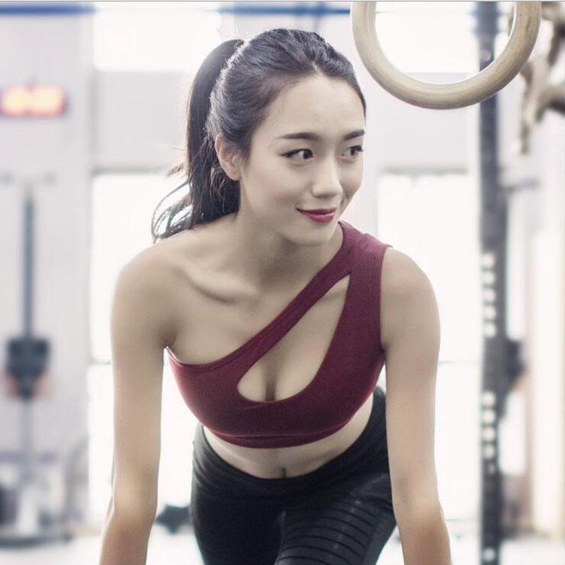 6e8e6de7063b0 Sexy One Shoulder Solid Sports Bra