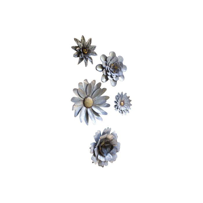 Galvanized Wall Accent Image: 5 Piece Galvanized Metal Flower Hanging Wall Décor Set