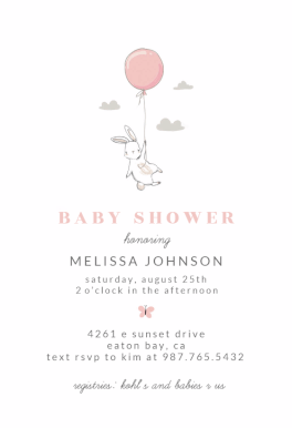 Bunny Shower Baby Invitation Template Free In 2019