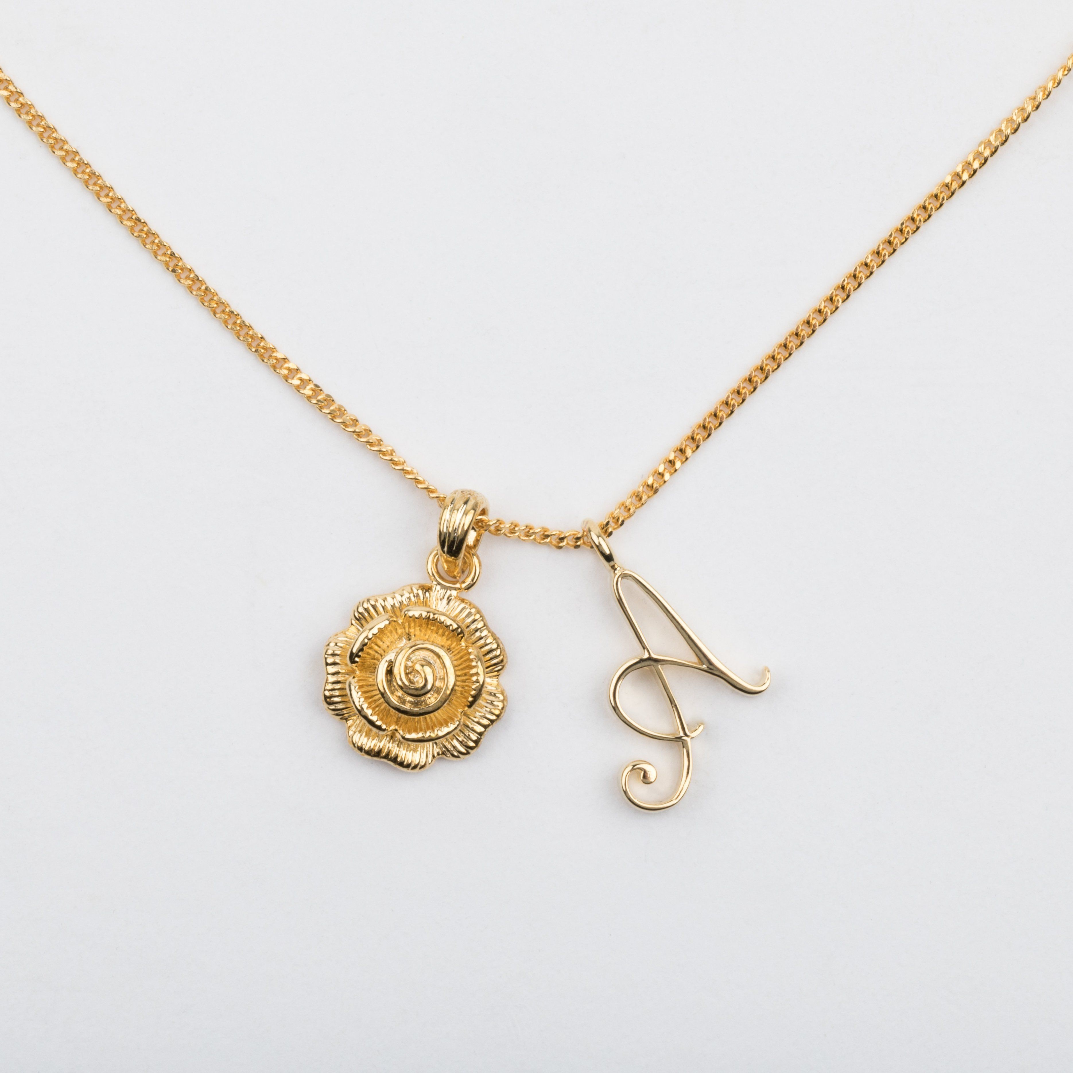 A initial necklace with rose pendant in my style pinterest