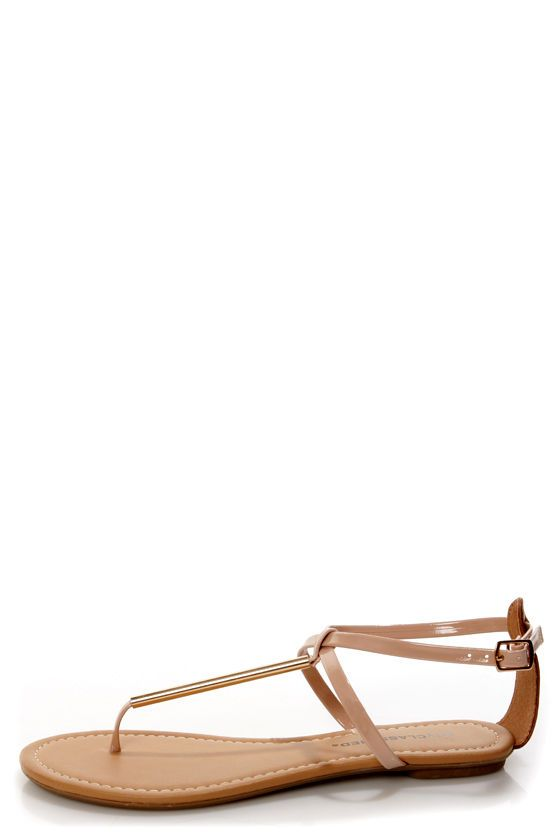 4d060ddeb37 City Classified Elaine Nude Patent and Gold Thong Sandals at LuLus.com!