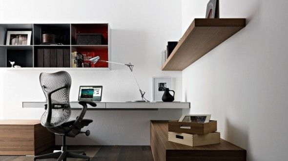 awesome modern home office decoration idea with wall mounted laptop desk - Office Decoration