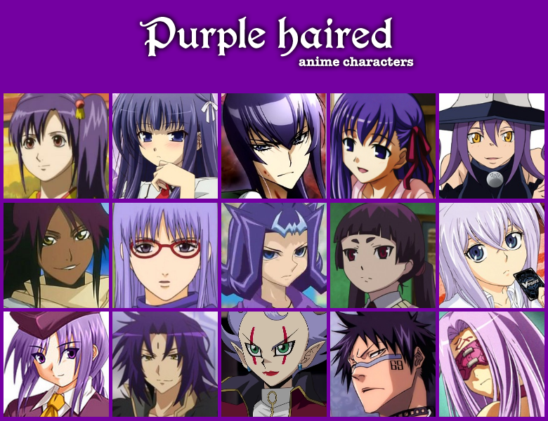 Purple haired anime characters by