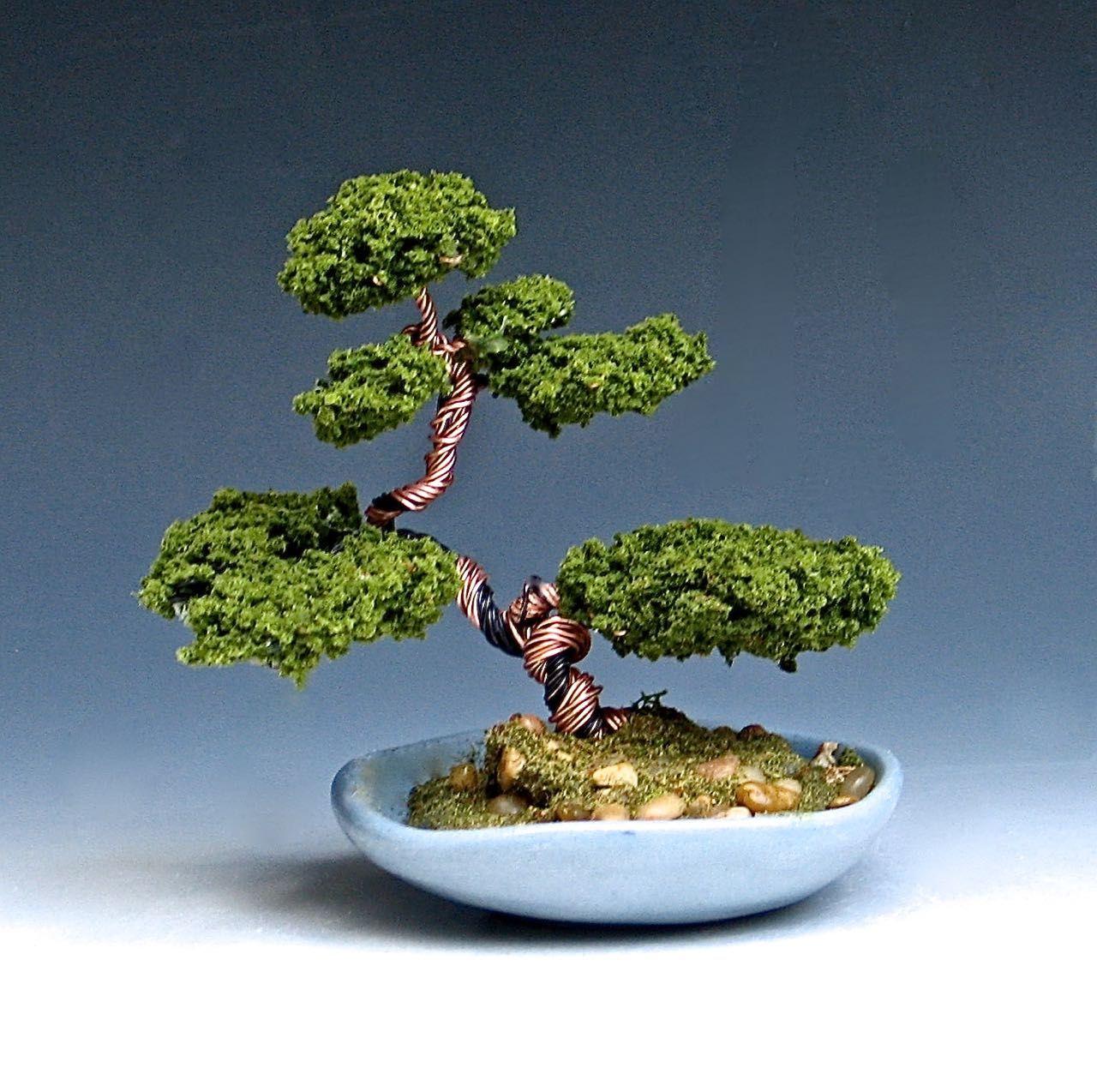 Copper wire bonsai tree; 4- inch tall sculpture in glazed ceramic ...