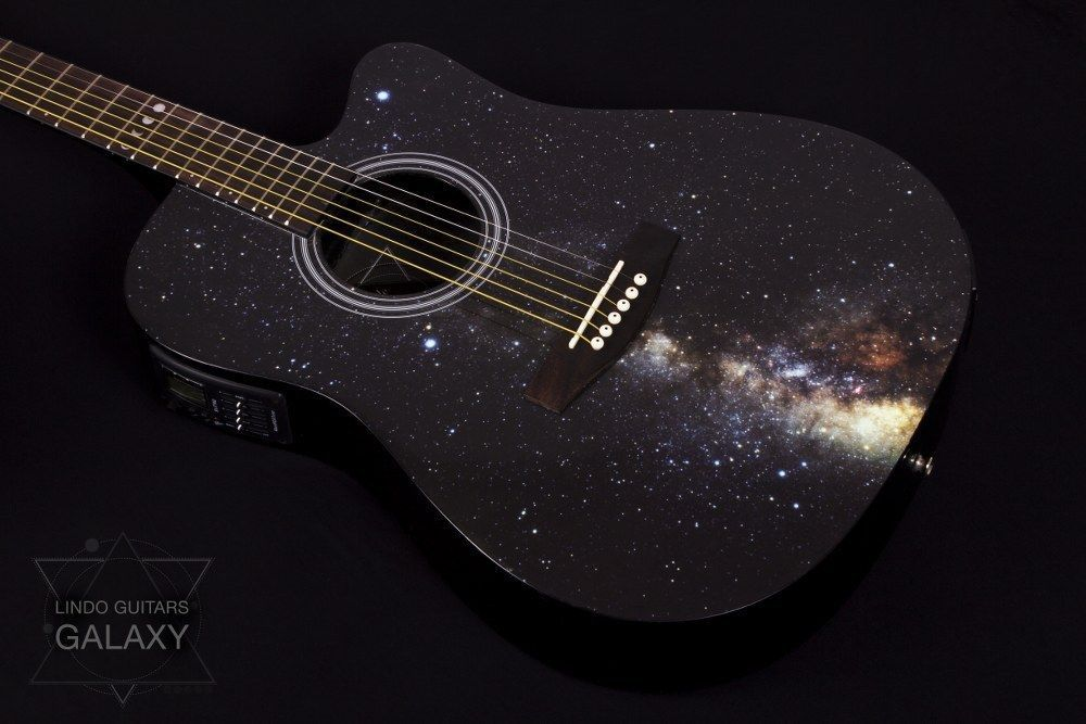 Lindo Galaxy Slim Electro Acoustic Guitar With Integrated Tuner Preamp Gigbag Electro Acoustic Guitar Acoustic Guitar Guitar Painting
