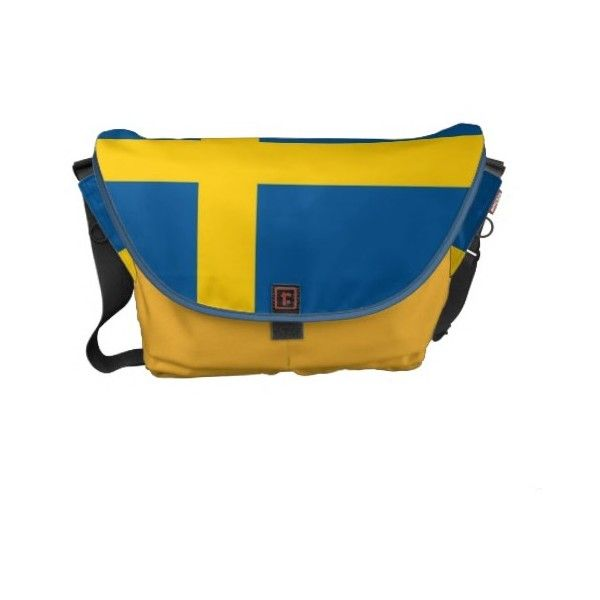 Swedish Flag Rickshaw Messenger Bag (140 CAD) ❤ liked on Polyvore featuring bags, messenger bags, blue bag, messenger bag, courier bag and blue messenger bag