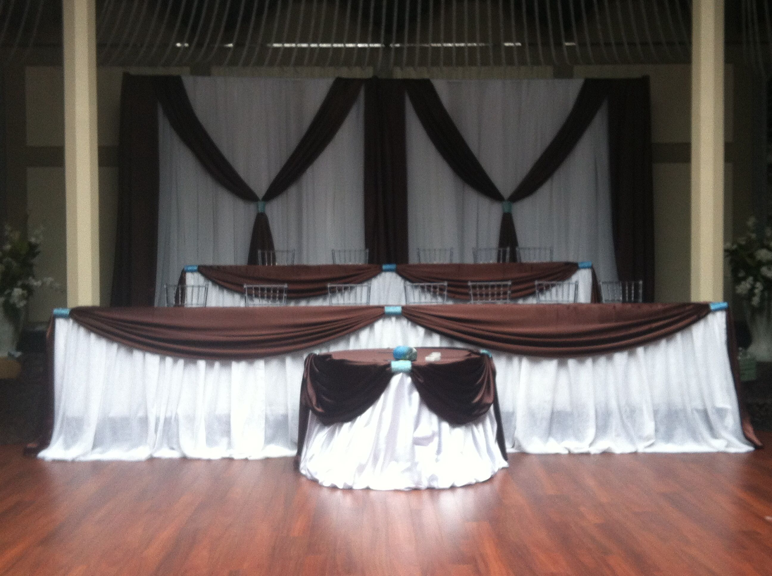Chocolate Brown And Tiffany Blue Wedding Backdrop And Head Table