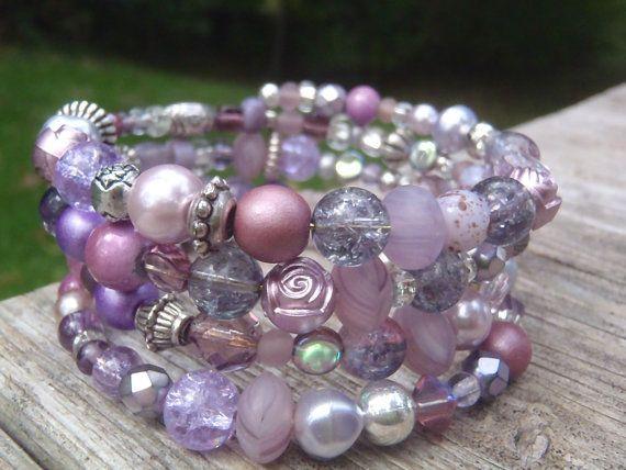 Memory wire bracelet vintage colors glass coconut wood gold beads key charm enameled charm Multilayer Women/'s Jewelry Wrap Bracelets Gift