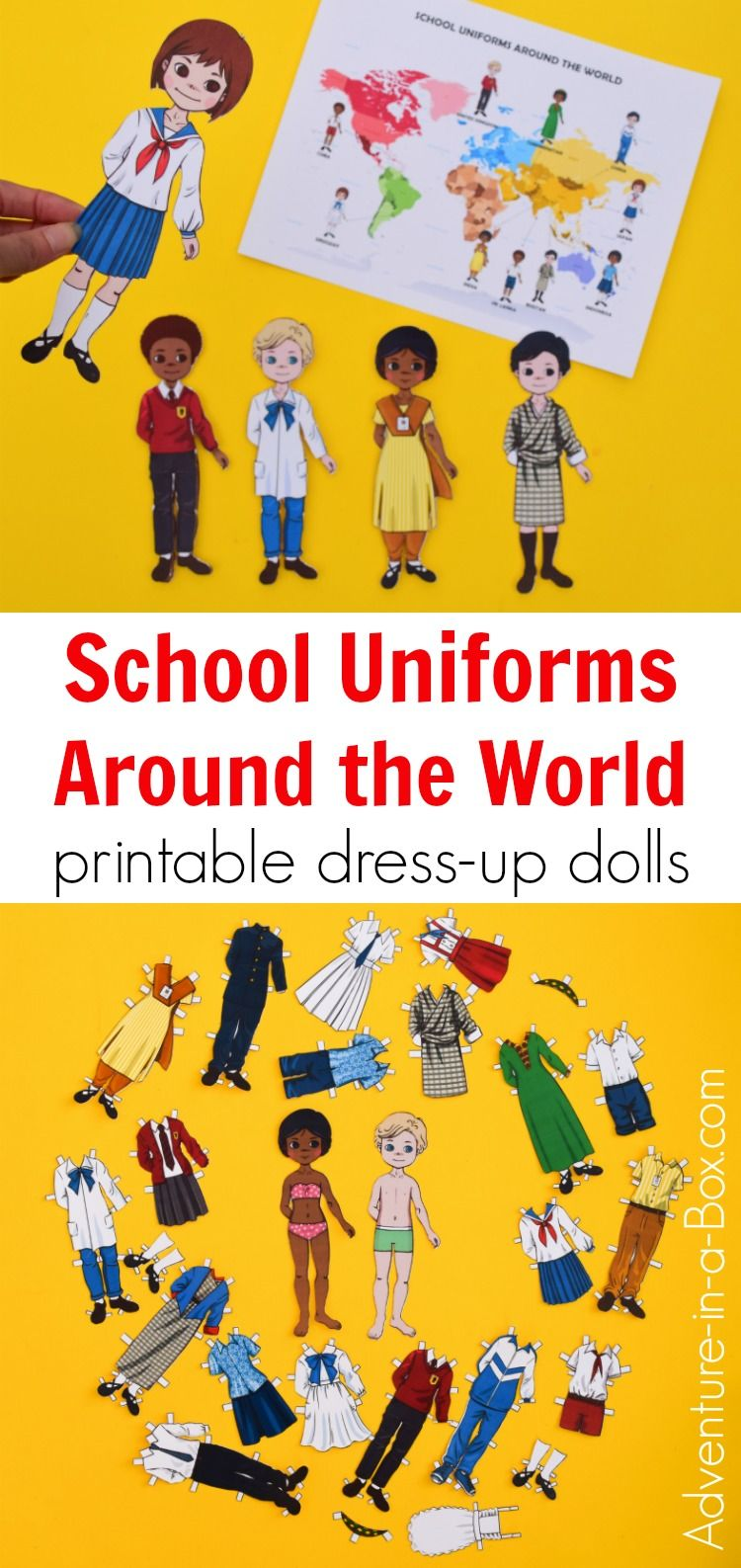School Uniforms Around the World: Printable Dress-Up Paper