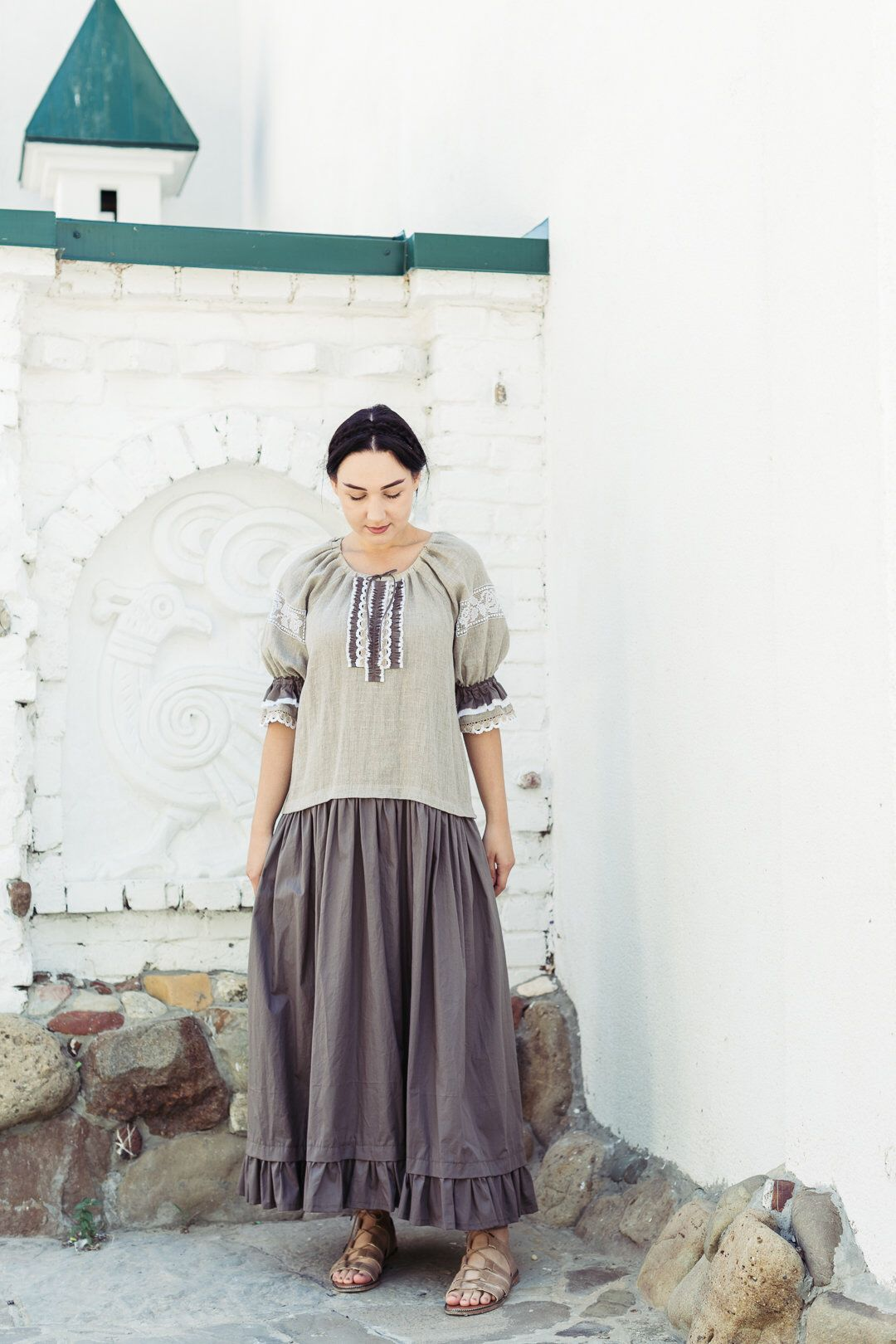 dd8a853b2 Bohemian embroidered linen dress/Eco clothing from natural materials/Rustic  wedding #clothing #women #dress #gray #blouson #no #aline #crew #34sleeve