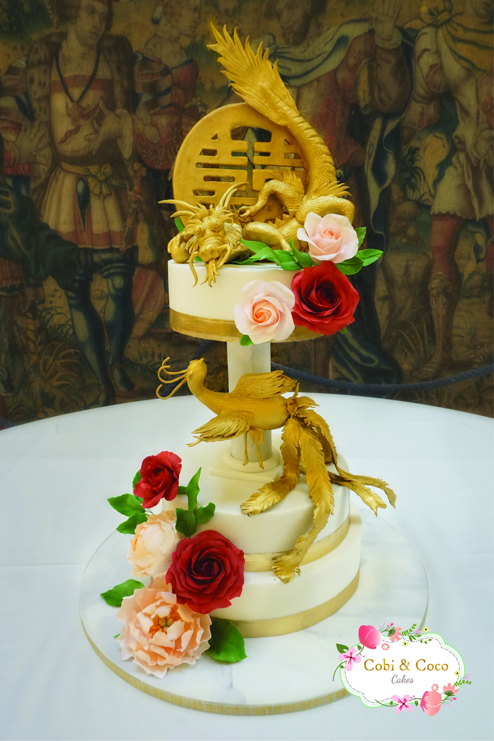 Chinese Dragon & Phoenix Golden wedding cake Hever Castle   Cobi ...