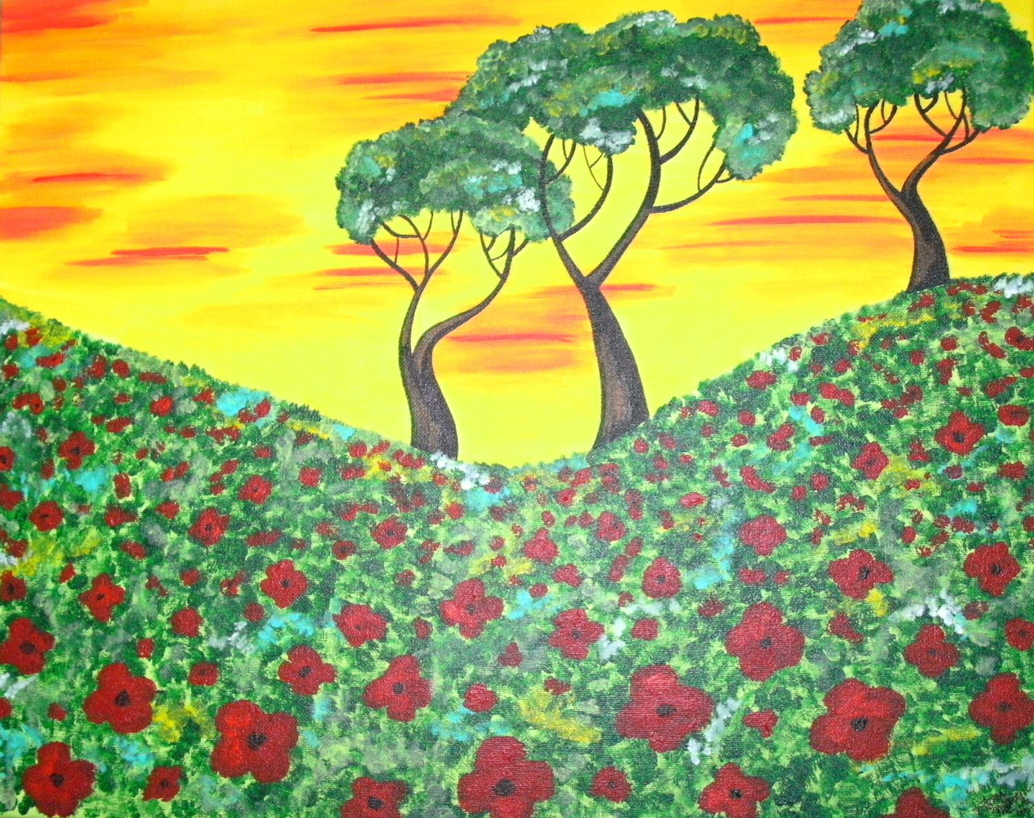Custom Poppy Painting, Poppy Field and Trees, Poppies Painting, Made ...