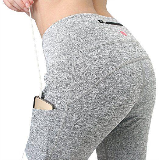 60c40933a137d Amazon.com: MYoga Women's Yoga Pants Workout Capri Leggings Running Tights  w Side Pockets (XS-XL): Clothing