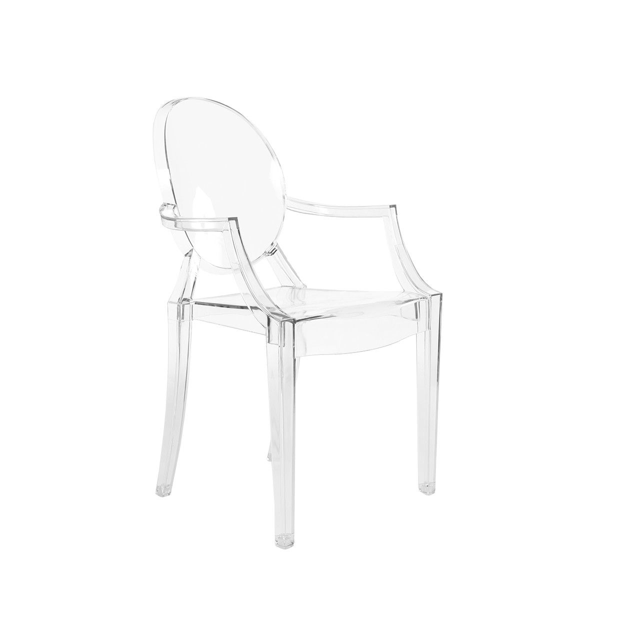 Mid Century Modern Reproduction Louis Ghost Chair Transparent Acrylic Dining Arm Chair Inspired Ghost Chair Louis Ghost Chair Midcentury Modern Dining Chairs