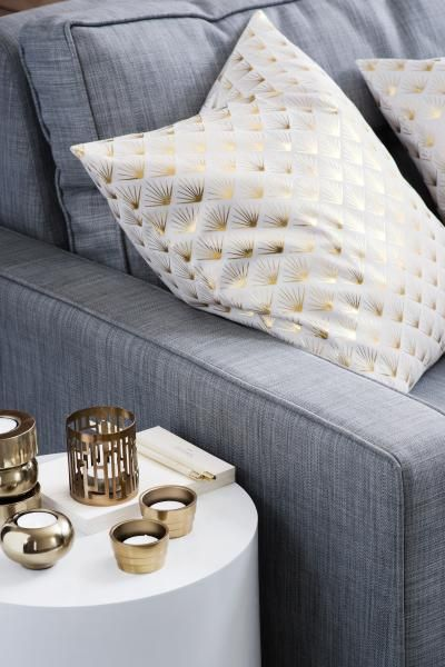 Coussin blanc et dor h m home wish list maison d co - Deco chambre dore ...