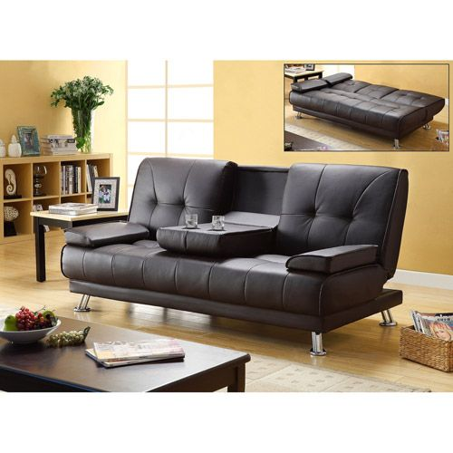 Primo International Flash Studio Convertible Futon Sofa Bed With Cup Holders Black Furniture