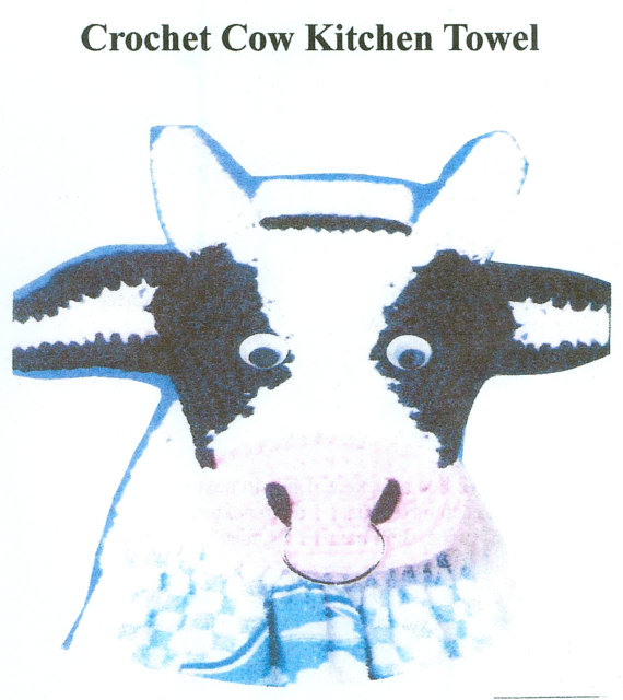 Crochet Cow Kitchen Towel Topper Country Kitchen Pattern Easy To ...