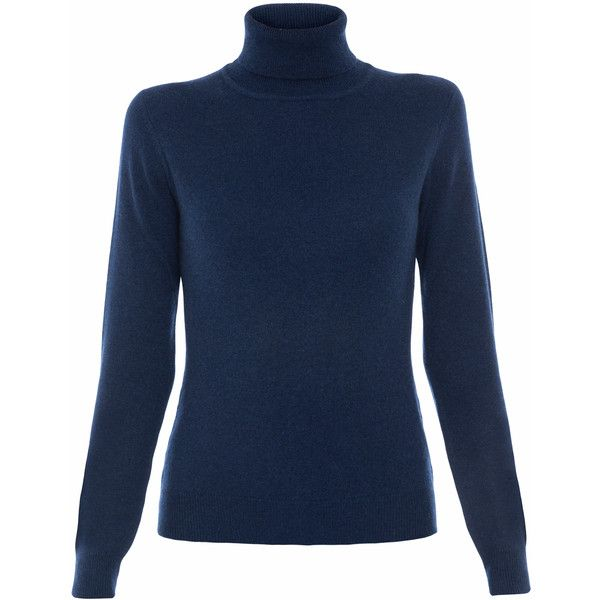 Repeat Cashmere Navy Cashmere Turtleneck ($350) ❤ liked on ...