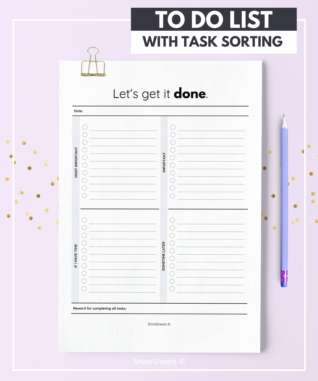 to-do list / printable to-do list / daily to do list / to do
