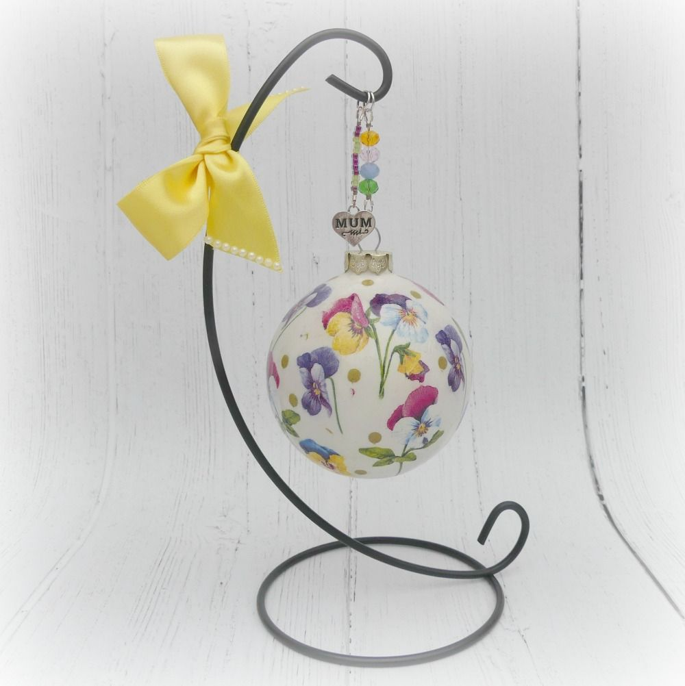 Flowers Ceramic Bauble and Stand For Mum, Friend, Sister Etc - The British Craft House
