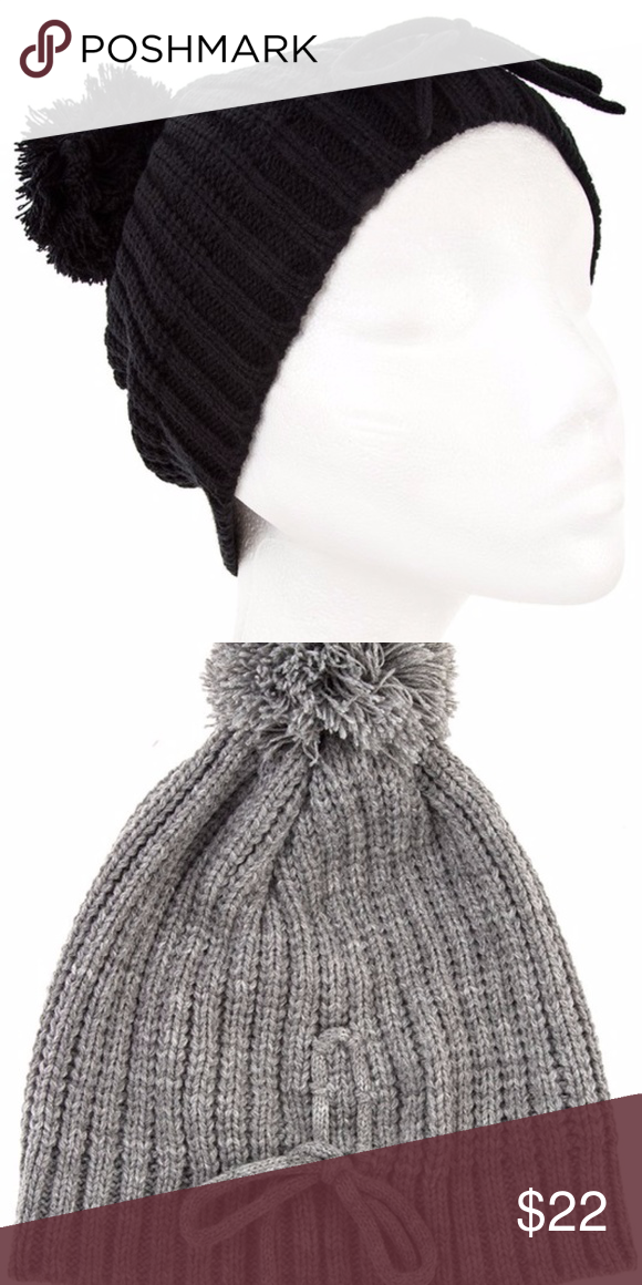 ***NEW***Knit Bow Accent Pom Pom Beanie Super cute Pom Pom Knit Beanie! Available in Gray & Beige also under separate listings. 100% Acrylic. Accessories Hats