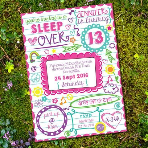 Sleepover Doodle Invitation Tween Party Slumber Party Invitation