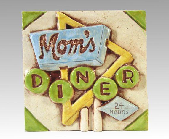 Retro Diner Sign Ceramic Art Tile, 4 x 4 Tile, Handmade Ceramic Tile ...