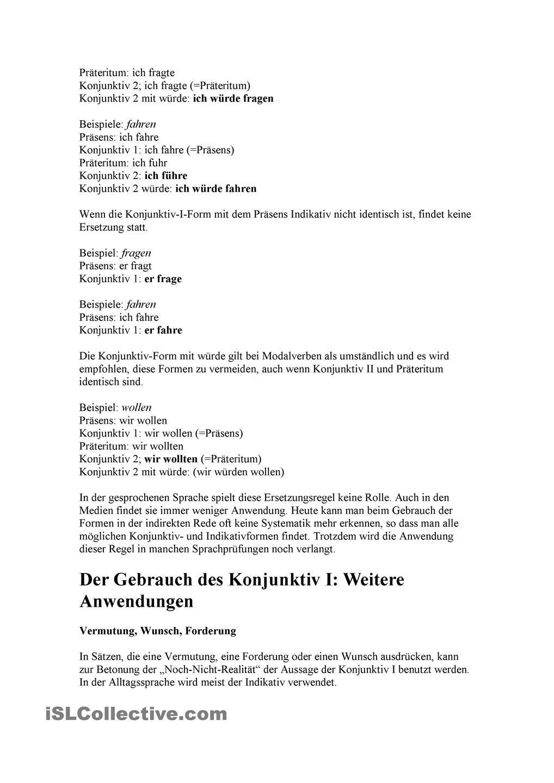 Der Konjunktiv I. Indirekte Rede | Pasi und Acti z.m/Der Konjunktiv ...