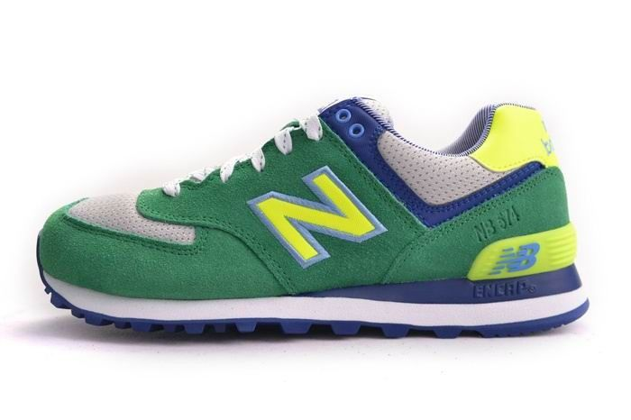 Cheap Outlet New Balance Mens Trainers WL574YCK Yacht Club Green with Lemon  & Blue & Grey