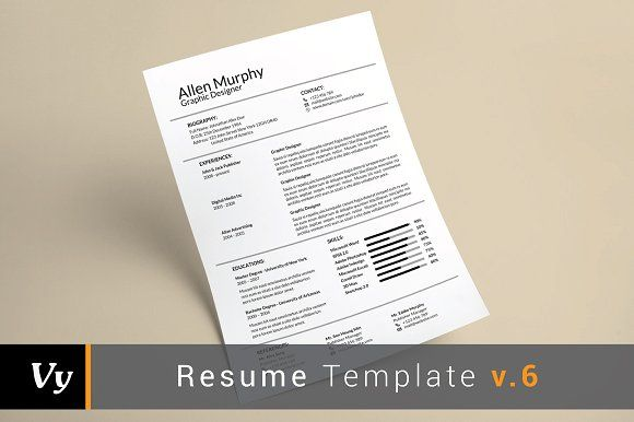 Simple Resume Template by voryu on @creativemarket CV \ Resume - simple graphic design resume