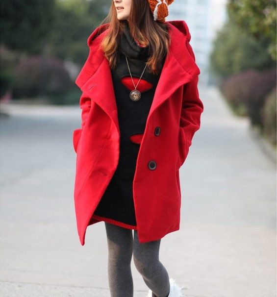 women's Red Cashmere Coat Double Breasted Fitted Wool Coat jacket  Hooded Jacket  S-XXL on Etsy, $59.99