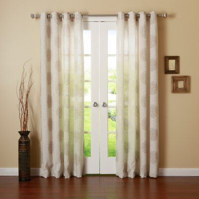 Best Home Fashion Medallion Linen Grommet Top Curtain Panels Taupe - JC_MEDALLION-96-TAUPE