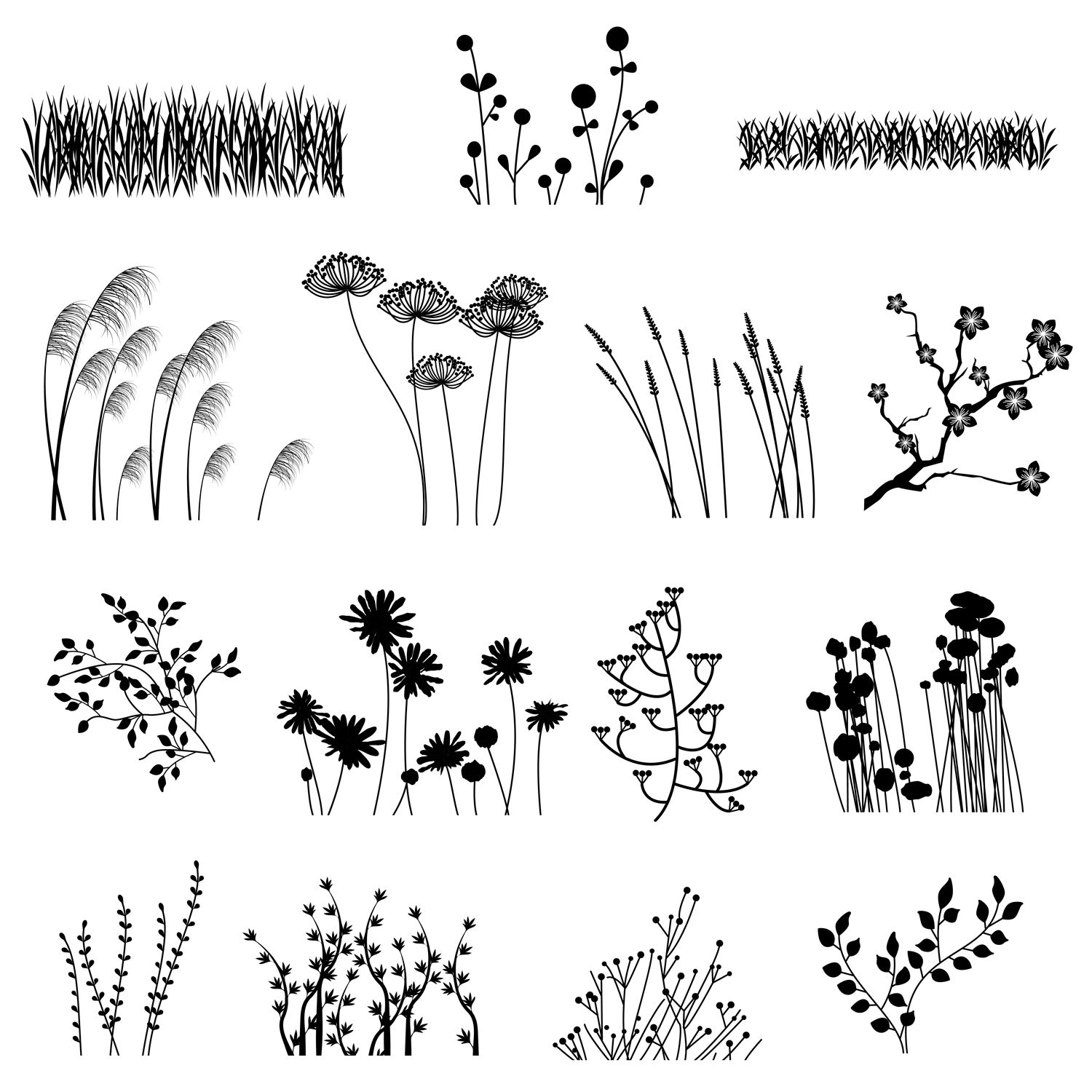 Photo of Our Plant Silhouettes Photoshop Brush set contains 15 high-resolution brushes wi…