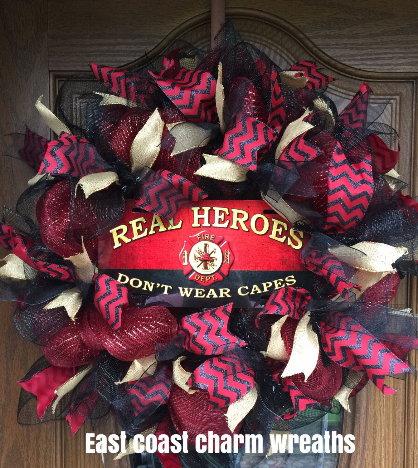 ON SALE Firefighter Home Decor Wreath Gifts deco mesh and assorted ribbon - $64.00 USD