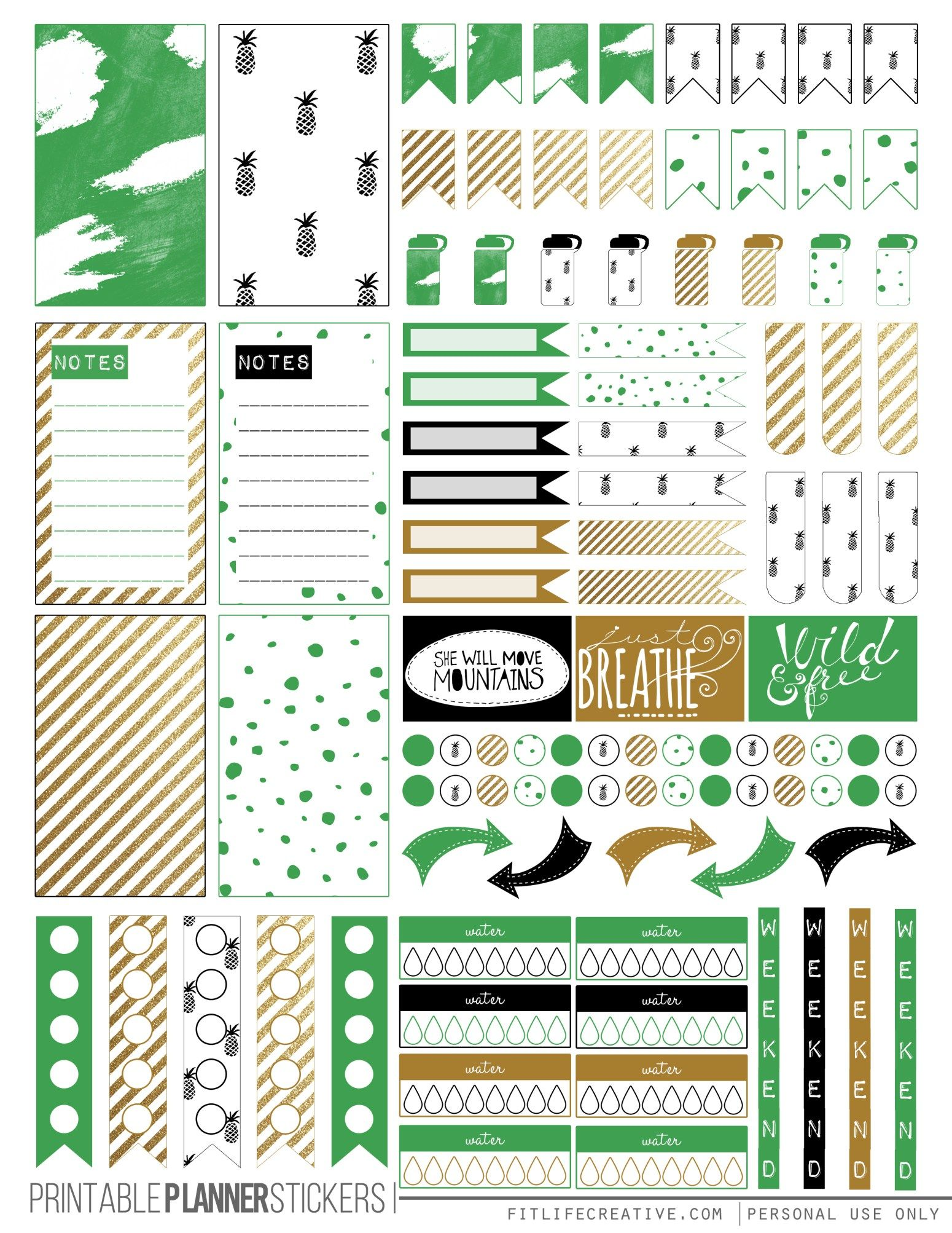 Free Printable Kate Spade Inspired Planner Stickers From Fit Life Creative Planner Printables Free Free Printable Planner Stickers Happy Planner Printables